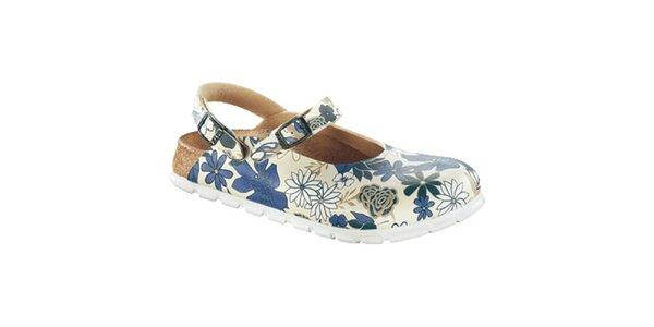 Dámske biele zdravotné šľapky s modrými kvetmi Alpro
