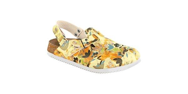 Dámske vanilkovo-oranžové sandále s kvetinovým vzorom Alpro