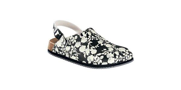 Dámske čierno-biele sandále s kvetinovým vzorom Alpro