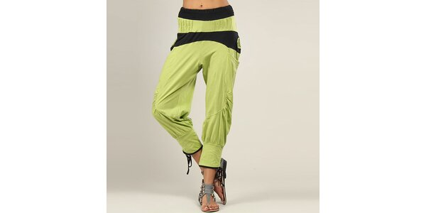 Dámske zeleno-čierne harémové nohavice Coline