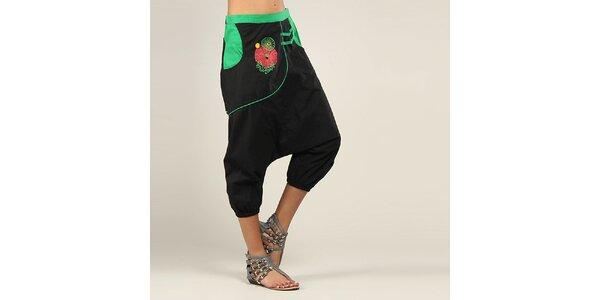 Dámske čierno-zelené turecké nohavice Coline
