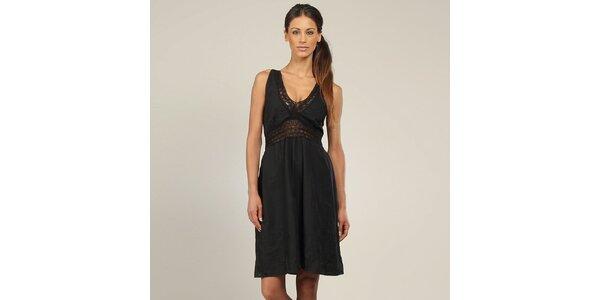 Dámske čierne šaty s čipkou Coline