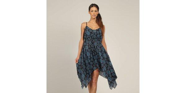 Dámske čierne šaty s modrým vzorom Coline