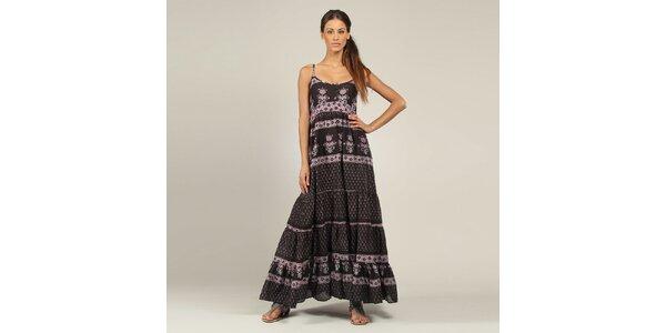Dámske dlhé čierno-fialové šaty Coline