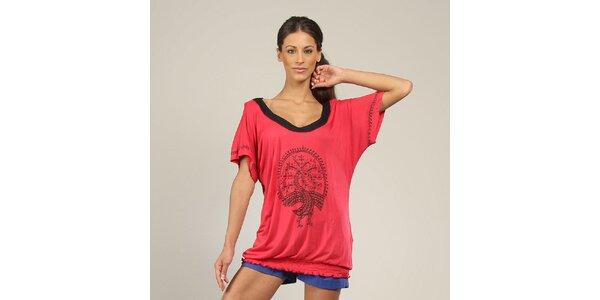 Dámske ružové tričko s potlačou Coline