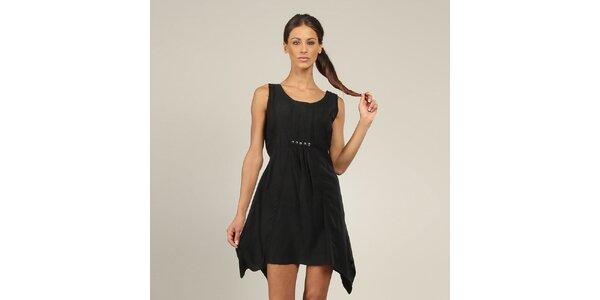Dámske čierne šaty s gombíkmi Coline