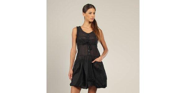 Dámske čierne šaty s vreckami Coline