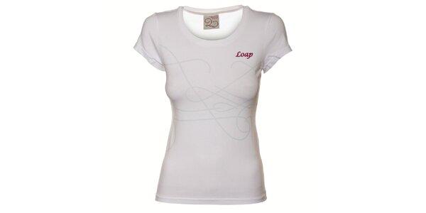 Dámske biele tričko Loap s potlačou