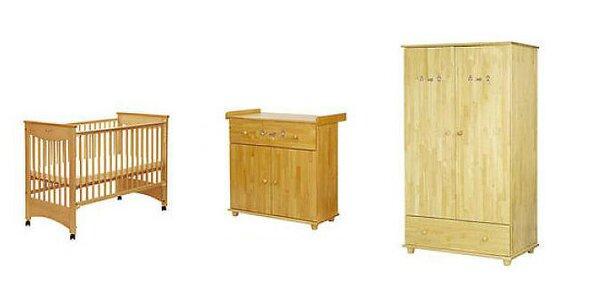 Detská izba Drewex Laura v prírodnom borovicovom prevedení + matrac do postieľky