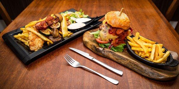 Naložený XXL burger či mäsový mix grill tanier