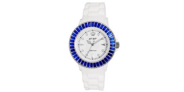 Biele športové hodinky s modro orámovaným ciferníkom Jet Set