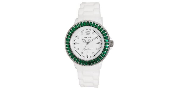 Biele športové hodinky so zeleno orámovaným ciferníkom Jet Set