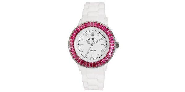 Biele športové hodinky s ružovo orámovaným ciferníkom Jet Set