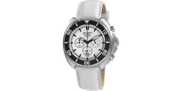 Biele hodinky s koženým remienkom Jet Set