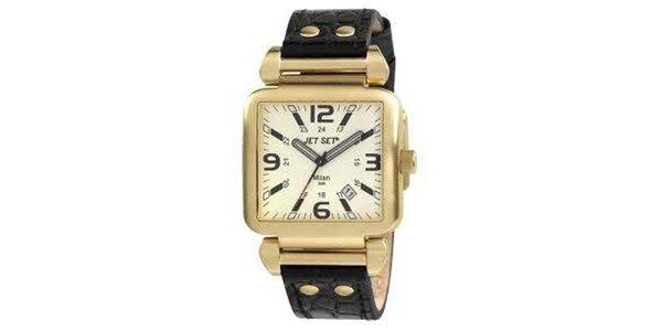 Zlaté hranaté hodinky s čiernym koženým páskom Jet Set