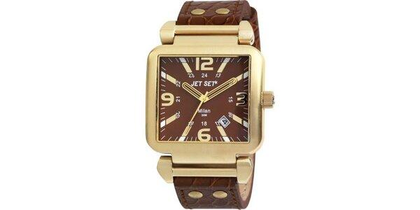 Zlaté hranaté hodinky s hnedým koženým páskom Jet Set