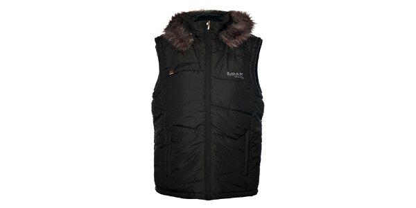 Pánska čierna prešívaná vesta Loap