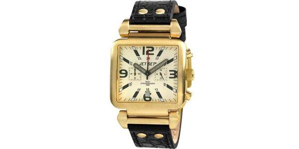 Zlaté hranaté hodinky s čiernym koženým remienkom Jet Set