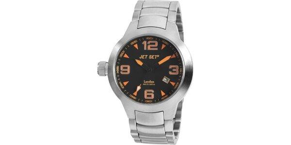 Strieborné analogové hodinky Jet Set s oranžovými detailmi