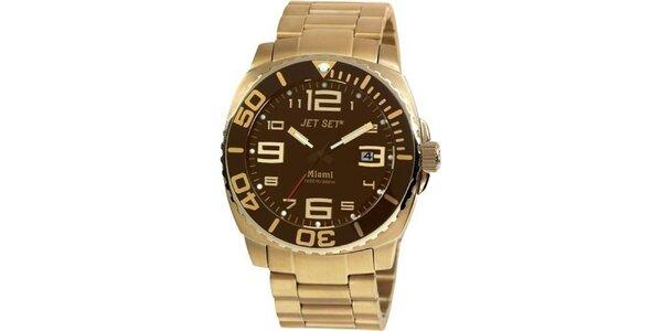 Pánske zlato-hnedé analogové hodinky Jet Set