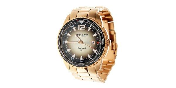 Pánske oceľové hodinky Jet Set v odtieni ružového zlata