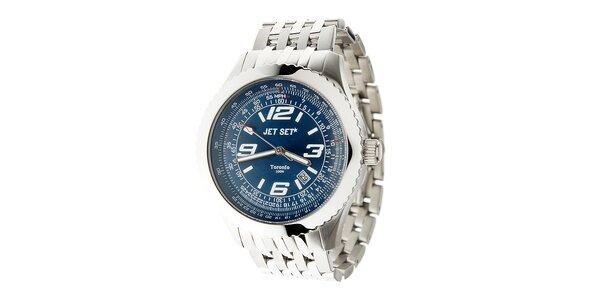 Pánske oceľové hodinky Jet Set s tmavo modrým ciferníkom