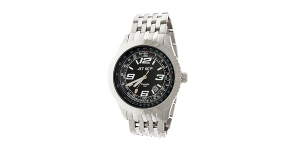 Pánske oceľové hodinky Jet Set s čiernym ciferníkom