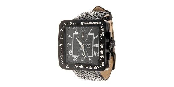 Čierne oceľové hodinky jet Set s koženým remienkom