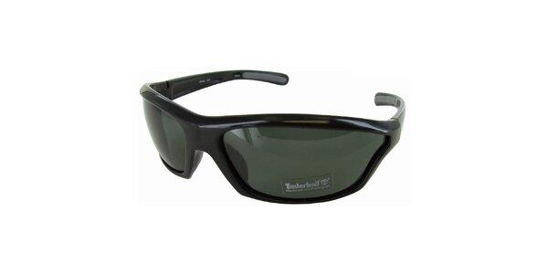 Čierne športové okuliare Timberland so šedo zafarbenými sklami