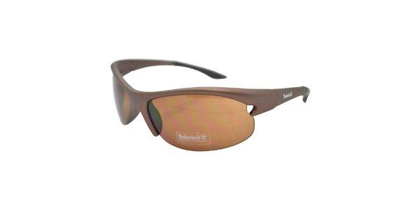 Hnedé metalicky tónované športové slnečné okuliare Timberland