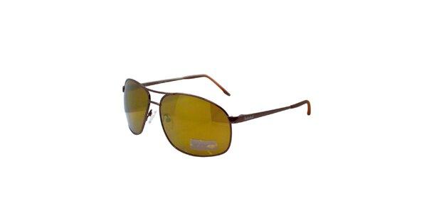 Hnedo-zelené kovové slnečné okuliare Timberland
