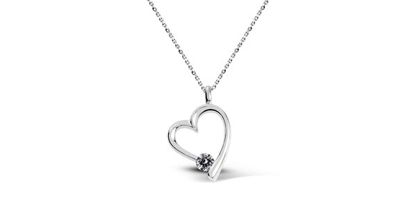 Dámsky strieborný náhrdelník v tvare srdca Giorgio di Mare so zirkónom