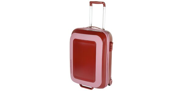 Ružovo-červený cestovný kufor Mandarina Duck