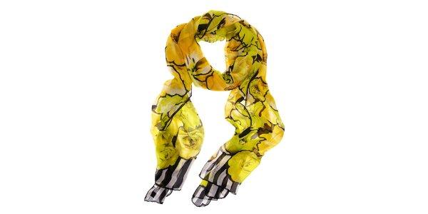 Dámsky hodvábny šál Roberto Cavalli so žltými kvetami