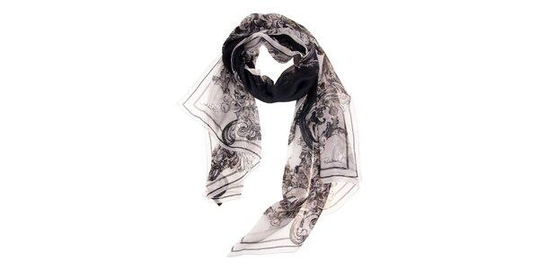 Dámsky biely hodvábny šál Roberto Cavalli s čiernou potlačou