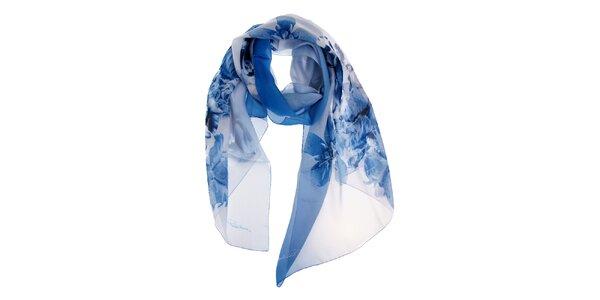 Dámsky modro-biely hodvábny šál Roberto Cavalli s potlačou