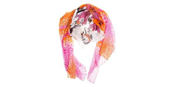 Dámsky ružovo-oranžový hodvábny šál Roberto Cavalli so zvieracou potlačou