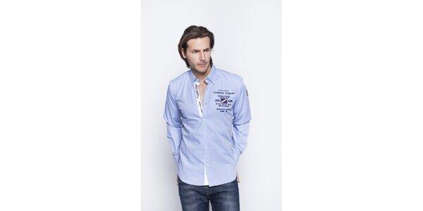 Pánska svetlo modrá košeľa s nášivkami Giorgio di Mare
