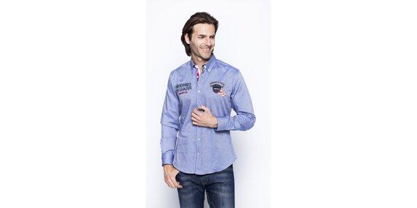 Pánska modrá košeľa s nášivkami Giorgio di Mare