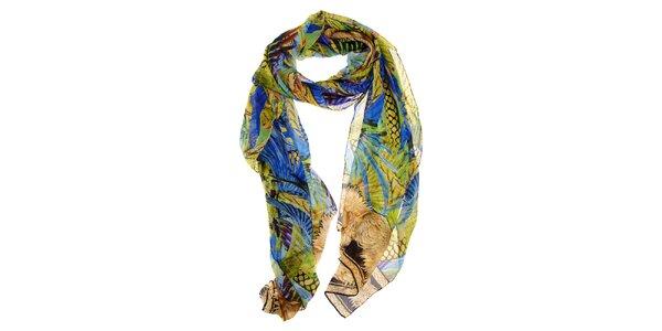 Dámsky pestrobarevný hodvábny šál Roberto Cavalli s tropickým motívom