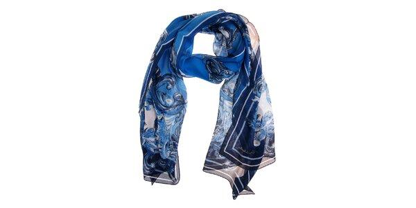 Dámsky tmavo modrý hodvábny šál Roberto Cavalli s potlačou