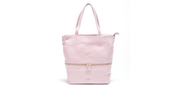 Dámska jemne ružová kožená kabelka Carla Ferreri
