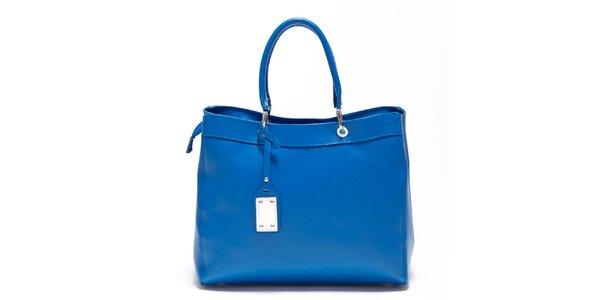 Dámska enziánovo modrá kožená kabelka s visačkou Carla Ferreri