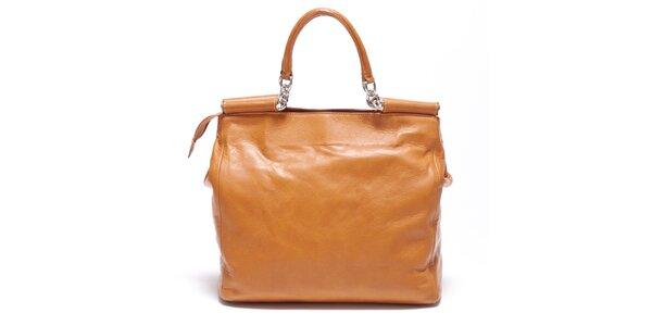 Dámska koňaková retro kabelka s popruhom Carla Ferreri