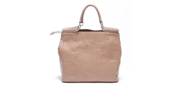 Dámska béžová retro kabelka s popruhom Carla Ferreri