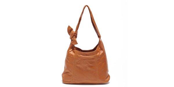 Dámska koňaková kožená kabelka s uzlom Carla Ferreri