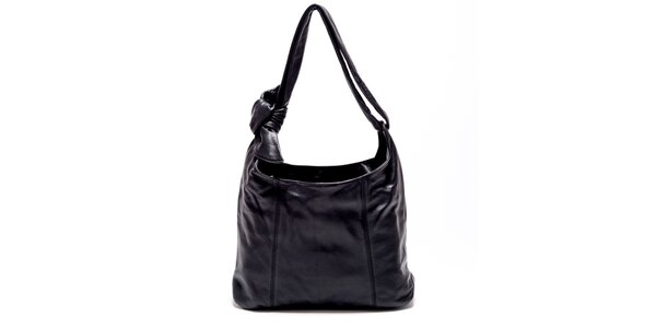 Dámska čierna kožená kabelka s uzlom Carla Ferreri