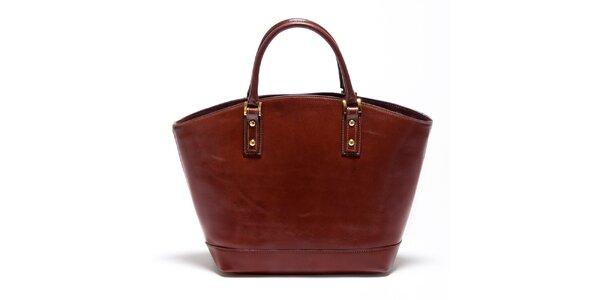 Dámska gaštanovo hnedá kožená kabelka Carla Ferreri