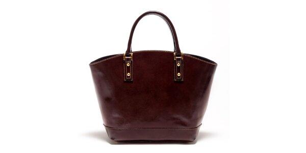 Dámska tmavo hnedá kožená kabelka Carla Ferreri