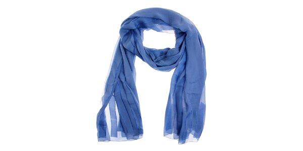 Dámsky modrý hodvábny šál Fendi